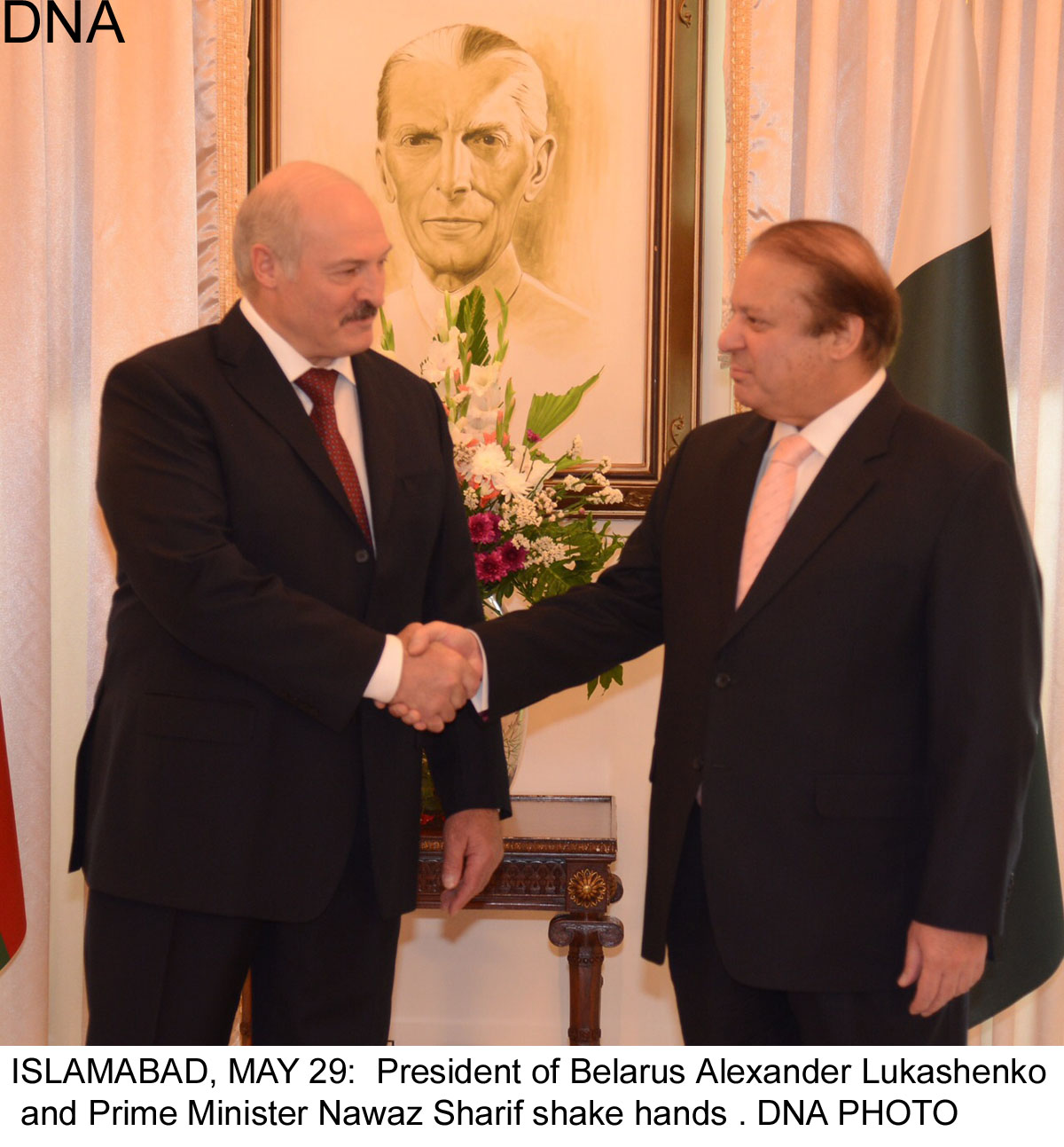 ISLAMABAD, MAY 29:  President of Belarus Alexander Lukashenko  and Prime Minister Nawaz Sharif shake hands . DNA PHOTO