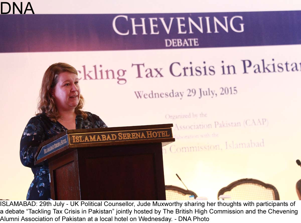 """ISLAMABAD: 29th July - UK Political Counsellor, Jude Muxworthy sharing her thoughts with participants of  a debate """"Tackling Tax Crisis in Pakistan"""" jointly hosted by The British High Commission and the Chevening  Alumni Association of Pakistan at a local hotel on Wednesday. - DNA Photo"""