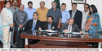 Lahore: 20th April - Chairperson TEVTA Irfan Qaiser Sheikh and Chief Executive Millat Equipment Ahsan  Imran are signing the MoU here yesterday at TEVTA Secretariat on Wednesday. - DNA Photo