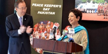 New York: 2nd June - UN Secretary General Ban Ki-Moon looks on as Pakistan's Ambassador to the UN  Dr. Maleeha Lodhi addresses an event hosted by her at UN HQ to mark Pakistan Peacekeepers Day, on  Thursday. - DNA Photo