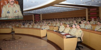 Rawalpindi: 2nd June - COAS General Raheel Sharif presiding over a day-long Formation Commanders'  Conference at General Headquarters on Thursday. - DNA Photo