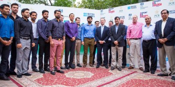 Islamabad: 17th June - A group photo of the Pakistan Men's Cricket Team and the Pakistan Cricket Board (PCB) with  British High Commissioner Thomas Drew CMG who hosted an Iftar dinner for them on the eve of ahead of the team's  departure for the United Kingdom. - DNA Photo