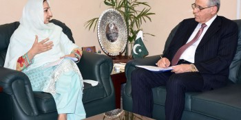 Islamabad: 29th June - Regional Director, WHO-EMRO Dr.Ala Alwan called on Minister of State for  National Health Services, Regulation and Coordination Mrs. Saira Afzal Tarar in her office, Islamabad on  Wednesday. - DNA Photo