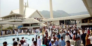 Islamabad: 1st July - People leave Faisal Mosque after offering prayers of Jumatul Wida, the last Friday of  Ramadan. - DNA Photo Adil Gill