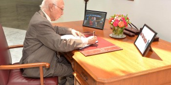 Islamabad: 1st July - Adviser to the Prime Minister on Foreign Affairs Sartaj Aziz signing condolence book  at the Turkish Embassy in memory of the people who lost their lives in Istanbul terrorist attack in Islamabad  on Friday. - DNA Photo