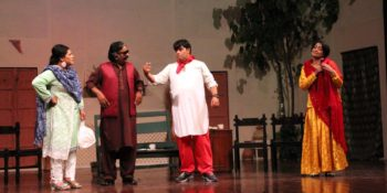 """ISLAMABAD: 30 SEP - Artists perform in a play """"Chaar Laachaar"""" staged at PNCA. - DNA Photo"""
