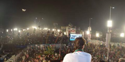 LAHORE, SEPT 30: PTI chairman Imran Khan addressing rally on Friday. DNA