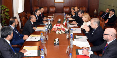 ISLAMABAD,OCT 18:  Foreign Secretary Aizaz Ahmad Chaudhry and secretary general of the ministry of  foreign affairs of Italy Ambassador Elisabetta Belloniduring the bilateral political consultations between  Pakistan and Italy.DNA PHOTO
