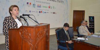 ISLAMABAD,OCT 20:  Martine Dorance, Ambassador of France to Pakistan speaks to  participants of Summit on Innovation and Entrepreneurship at HEC Secretariat. DNA