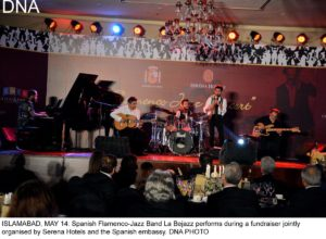 ISLAMABAD, MAY 14: Spanish Flamenco-Jazz Band La Bejazz performs during a fundraiser jointly organised by Serena Hotels and the Spanish embassy. DNA PHOTO