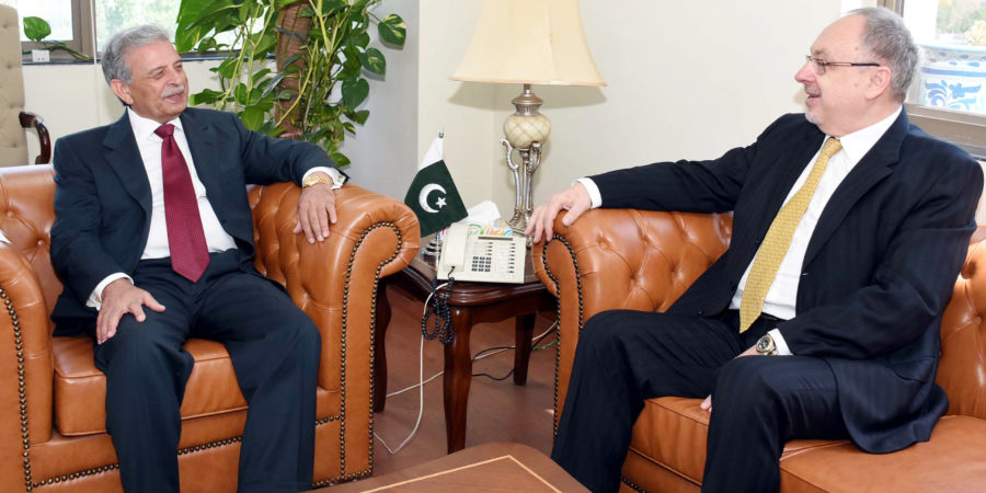 ISLAMABAD, JUN 07: Nicolae Goia, Ambassador of Romania in a meeting with Rana Tanveer Hussain Federal Minister for Defence Production.=DNA PHOTO