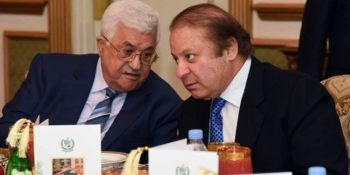 In this Tuesday, Jan. 31, 2017 photo provided by the Pakistan Press Information Department, Palestinian President, Mahmoud Abbas, left, talks to Pakistani Prime Minister Nawaz Sharif in Islamabad, Pakistan. Abbas arrived on a three-day visit to Islamabad to discuss bilateral, International and regional issues with Pakistani leadership, according the Pakistan's foreign ministry. (Press Information Department via AP)