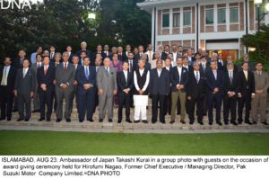 ISLAMABAD, AUG 23: Ambassador of Japan Takashi Kurai in a group photo with guests on the occasion of  award giving ceremony held for Hirofumi Nagao, Former Chief Executive / Managing Director, Pak  Suzuki Motor  Company Limited.=DNA PHOTO