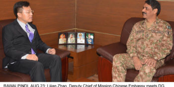 RAWALPINDI, AUG 23: Lijian Zhao, Deputy Chief of Mission Chinese Embassy meets DG ISPR Major General Asif Ghafoor on his visit to ISPR.=DNA PHOTO