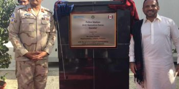 GWADAR, AUG 24: UNODC representative Cesar Guedes and Force Commander ANF Balochistan Brig  Bilal Javed posing for a photo  on the occasion of unveling of plaque. UNODC has upgraded anti narcotics police station in Gwadar. DNA PHOTO