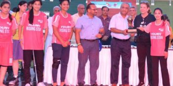 ISLAMABAD, AUG 27: CEO Serena Hotels Aziz Boolani and Representative UNODC Cesar Guedes giving award to a player on the occasion of a footbal match. DNA PHOTO