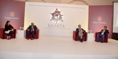 """ISLAMABAD, SEPT 15: Speakers taking part in a panel discussion  on the occasion of a dialogue """" Raabta"""" held under the aegis of Serena Hotels Public Diplomacy initiative. DNA"""