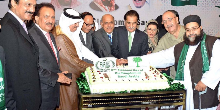 ISLAMABAD, SEPT 26: Speaker National Assembly, Sardar Ayaz sadiq along with Ambassador of Saudi Arabia, Nawaf Saeed Ahmed Al-Malkiy and others cutting cake on the occasion of 87th Anniversary of Saudi Arabia National Day.=DNA PHOTO