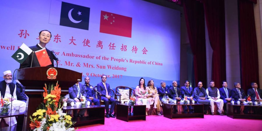 ISLAMABAD, OCT 09: Ambassador of China, Sun Weidong speaking on the occasion of farewell reception, on Monday.=DNA PHOTO