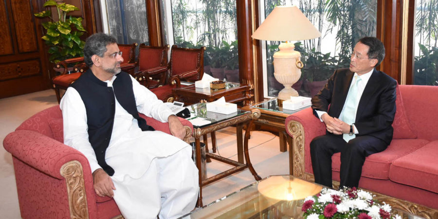 ISLAMABAD, OCT 12: Ambassador of Japan to Pakistan Takashi Kurai called on Prime Minister Shahid Khaqan Abbasi at PM Office.=DNA PHOTO