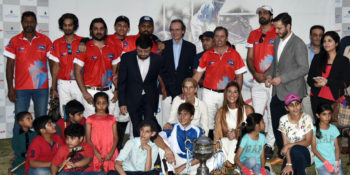 ISLAMABAD, OCT 15: Ambassador of Argentina Ivan Ivanissevich in a group photo with the  winner team of final match of Argentine Republic Polo cup 2017, played at Islamabad Polo  Ground. DNA