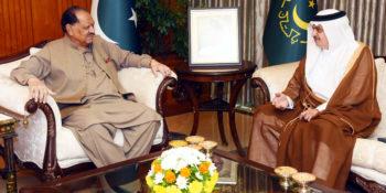 ISLAMABAD, OCT 19: Ambassador of Saudi Arabia, Nawaf Saeed Ahmad Almalki meets President Mamnoon Hussain at Aiwan-e-Sadr.=DNA PHOTO