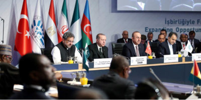 ISTANBUL, OCT 20: Prime Minister Shahid Khaqan Abbasi addressing the 9th d-8 summit in Istanbul, on Friday.=DNA PHOTO