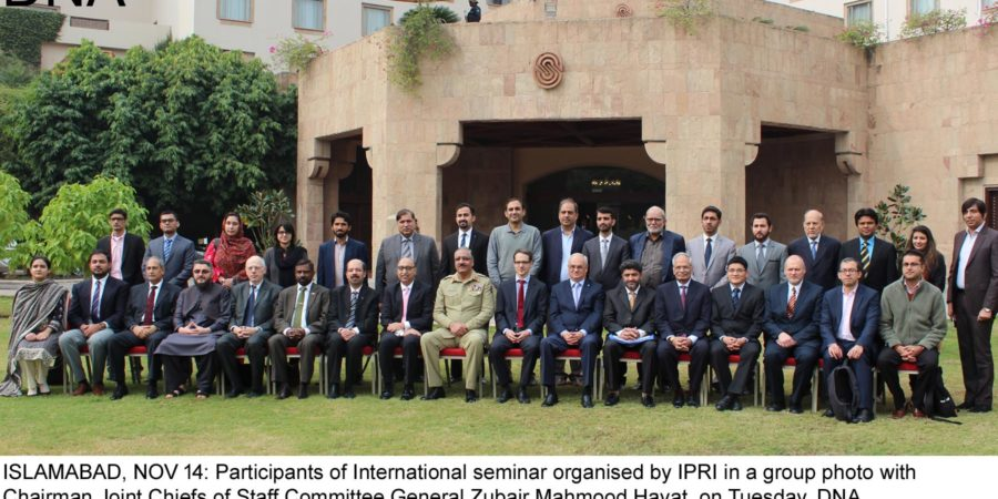 ISLAMABAD, NOV 14: Participants of International seminar organised by IPRI in a group photo with  Chairman Joint Chiefs of Staff Committee General Zubair Mahmood Hayat, on Tuesday. DNA