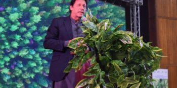 ISLAMABAD, NOV 14: Chairman Pakistan Tehreek-e-Insaf, Imran Khan addressing the audience during a ceremony held to highlight importance of planting trees at convention centre.=DNA PHOTO
