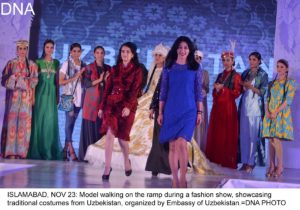 ISLAMABAD, NOV 23: Model walking on the ramp during a fashion show, showcasing traditional costumes from Uzbekistan, organized by Embassy of Uzbekistan.=DNA PHOTO