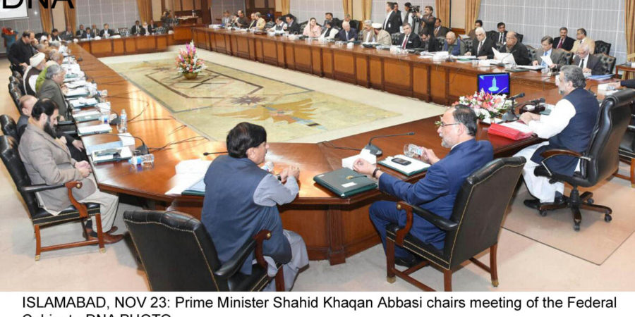 ISLAMABAD, NOV 23: Prime Minister Shahid Khaqan Abbasi chairs meeting of the Federal Cabinet.=DNA PHOTO