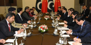 SOCHI, NOV 30: Prime Minister Shahid Khaqan Abbasi in a meeting with Chinese Premier Li Keqiang, on Thursday.=DNA PHOTO