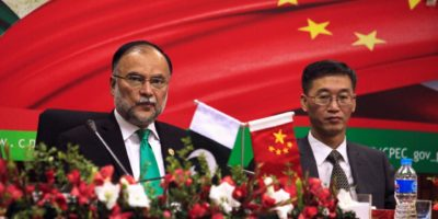 Ahsan Iqbal (L), Pakistan's Minister of Planning and Development and Yao Jing, Chinese Ambassador to Pakistan attend the launching ceremoney of CPEC long-term cooperation plan in Islamabad, Pakistan December 18, 2017. REUTERS/Faisal Mahmood