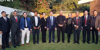 Chinese business delegation in a group photo with Senator Mushahid Hussain Syed