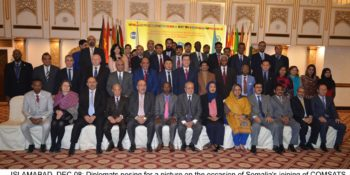 ISLAMABAD, DEC 08: Diplomats posing for a picture on the occasion of Somalia's joining of COMSATS GROUP, during a ceremony on Friday.=DNA PHOTO
