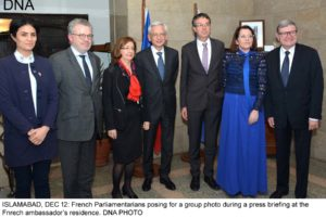 ISLAMABAD, DEC 12: French Parliamentarians posing for a group photo during a press briefing at the Fnrech ambassador's residence. DNA PHOTO