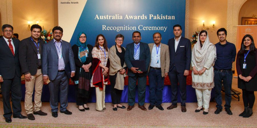 ISLAMABAD, FEB 10: Australian High Commissioner Margaret Adamson in a group photo with recepients of scholarships. DNA PHOTO