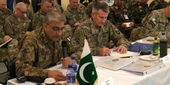 KABUL, FEB 13: Chief of Army Staff, General Qamar Javed Bajwa addressing the Chiefs of Defence Cnference in Kabul, on Tuesday.=DNA PHOTO