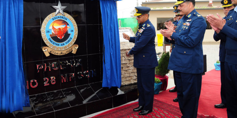QUETTA, FEB 28: Air Chief Marshal Sohail Aman, Chief of the Air Staff, unveiling the plaque of No 28 Multirole Squadron PAF Base.=DNA PHOTO