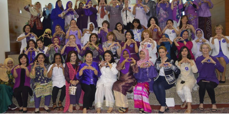 ISLAMABAD, MAR 08: Spouses of envoys of various countries posing for a shot on the occasion of a function held to celebrate International Women Day at The Centaurus, on Thursday. DNA PHOTO