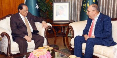 Outgoing Ambassador of Palestine, Walid A.M. Abu Ali paid a farewell call on President Mamnoon Hussain at the Aiwan-e-Sadr, Islamabad on April 13, 2018.