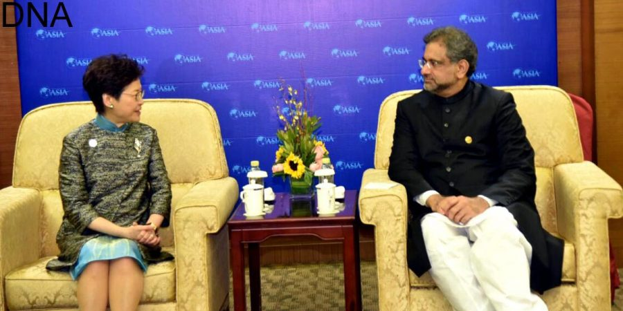 BOAO, APR 10: Chief Executive of Hong Kong, Carrie Lam meets Prime Minister Shahid Khaqan Abbasi on the sidelines of BOAO Forum for Asia.=DNA PHOTO