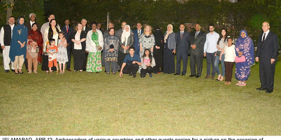 ISLAMABAD, APR 12: Ambassadors of various countries and other guests posing for a picture on the occasion of  farewell dinner hosted by Ambassador of Tunisia Adel Elarbi for the Ambassador of Palestinie Walid Abu Ali,=DNA