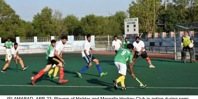 ISLAMABAD, APR 23: Players of Nishtar and Margalla Hockey Club in action during semi final of Inter Club Hockey Tournament at Naseer Bundha Hockey Stadium.=DNA PHOTO