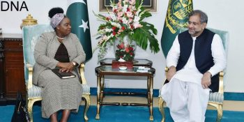 ISLAMABAD, APR 30: Foreign Minister of Kenya Ambassador, Monica Juma meets Prime Minister Shahid Khaqan Abbasi, on Monday.=DNA PHOTO