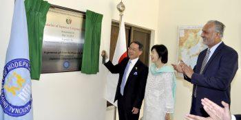 ISLAMABAD, MAY 14: Ambassador of Japan Takashi Kurai inaugurating the upgraded Japanese language department at NUML, on Monday. DNA PHOTO