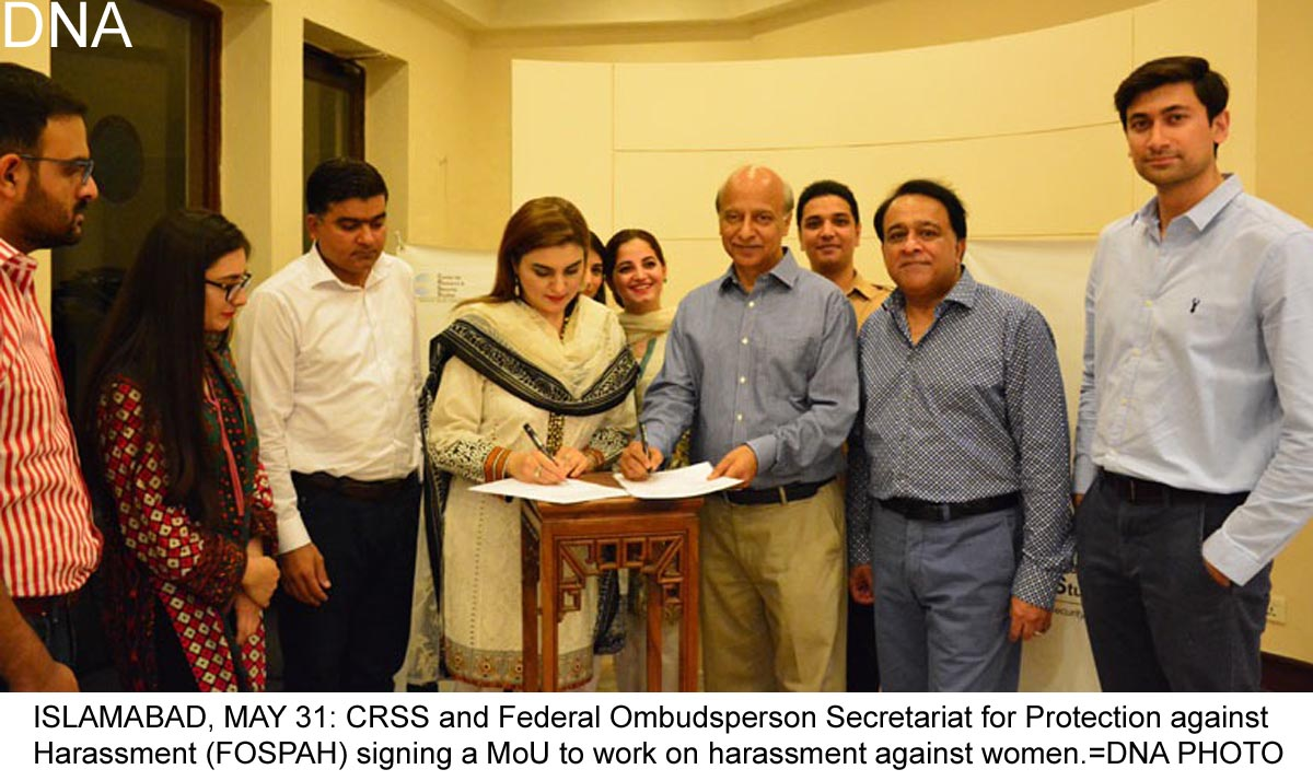 CRSS signs agreement for protection against women harassment
