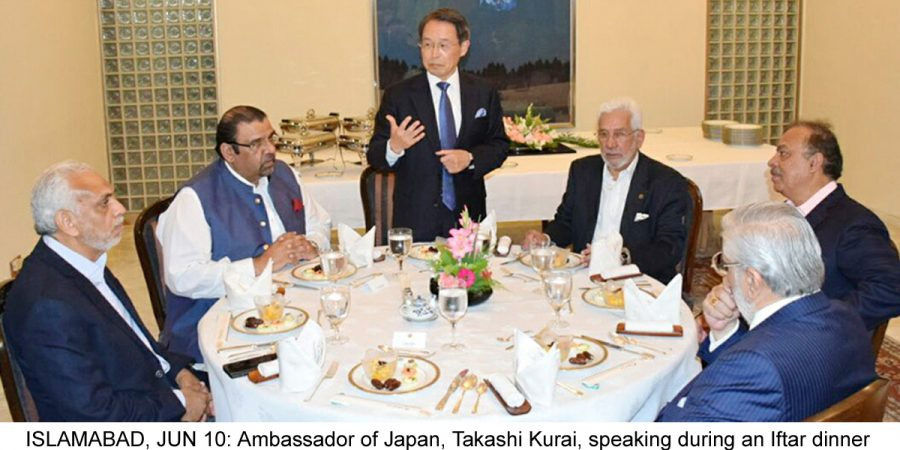 ISLAMABAD, JUN 10: Ambassador of Japan, Takashi Kurai, speaking during an Iftar dinner held in honour of President FPCCI Ghazanfar Bilour.=DNA PHOTO