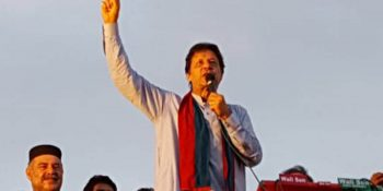 CHARSADDA, JUL 05: Chairman PTI, Imran Khan addressing a public gather in Charsadda, on Thursday.=DNA PHOTO