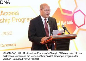 ISLAMABAD, JUL 11: American Embassy's Chargé d'Affaires, John Hoover addresses students at the launch of two English language programs for youth in Islamabad.=DNA PHOTO